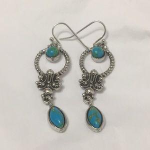 Boho Silver Turquoise Drop Dangle Hook Earrings